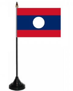 Laos Desk / Table Flag with plastic stand and base.